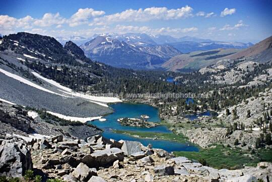Barney Lake as seen from Duck Pass in the John Muir Wilderness Area, California